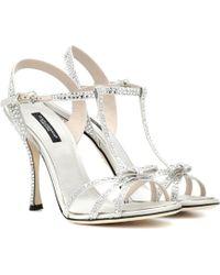 d225dd598ed Dolce   Gabbana Embellished Strappy Sandals in Metallic - Lyst