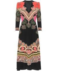 Etro - Printed Silk Midi Dress - Lyst