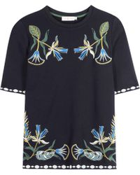 Tory Burch | Ainsley Embroidered Cotton Jersey Top | Lyst