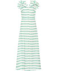 Delpozo - Striped Linen-blend Dress - Lyst