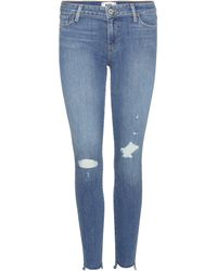 PAIGE - Verdugo Ankle Distressed Skinny Jeans - Lyst