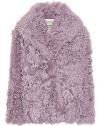b64025da716e Miu Miu Faux-fur Coat in Natural - Lyst
