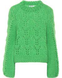 Ganni Julliard Mohair And Wool Jumper - Green