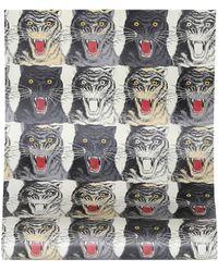 Gucci Tiger Face Printed Wallpaper - Multicolour