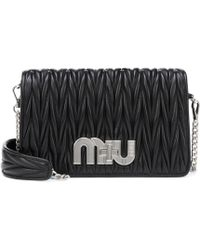 c583e9f98773 Lyst - Miu Miu Matelassé Velvet Shoulder Bag in Black