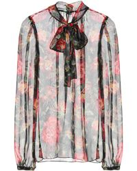 Dolce & Gabbana - Printed Silk Pussy-bow Blouse - Lyst