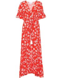 Athena Procopiou Farah Floral Silk Dress - Red