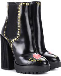 Dolce & Gabbana - Ankle Boots aus Leder - Lyst