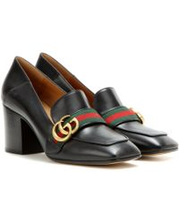 Gucci - Leather Mid-heel Loafers - Lyst