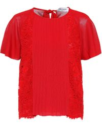 Valentino - Lace-panelled Top - Lyst