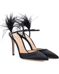 Gianvito Rossi - Simone Feather-trimmed Satin Pumps - Lyst