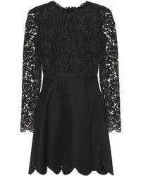 Valentino - Lace Silk And Wool Minidress - Lyst