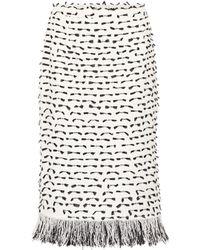 Oscar de la Renta - Fringed Cotton-blend Boucle Skirt - Lyst