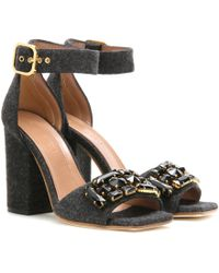 Marni - Crystal-Embellished Felt Sandals - Lyst