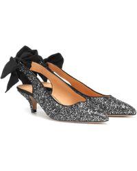 b7bce40d128 Lyst - Kate Spade Krysta Glitter Bow Pumps in Metallic