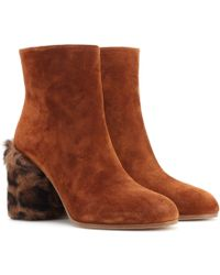 Miu Miu - Suede And Fur Ankle Boots - Lyst