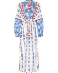 Dodo Bar Or Embroidered Cotton Midi Dress - Blue