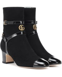 Gucci - Geraldine Suede Ankle Boots - Lyst