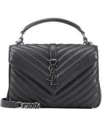 5ba54bdb94 Saint Laurent Classic Monogram Quilted Leather Shoulder Bag in Black ...
