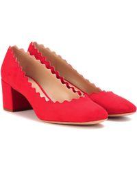 Chloé - Lauren Suede Court Shoes - Lyst