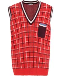 Miu Miu - Oversized wool sweater vest - Lyst