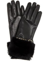 Valentino - Fur-trimmed Leather Gloves - Lyst