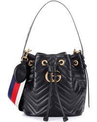 Gucci - GG Marmont Leather Bucket Bag - Lyst 92271ae8d2f6c