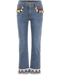 Etro - Jeans cropped con ricami - Lyst