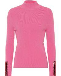 Delpozo - Wool Rib Knit Sweater W/ Sequined Cuffs - Lyst