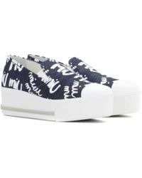 abcf8f377381 Lyst - Miu Miu Denim Slip-on Sneakers in Blue
