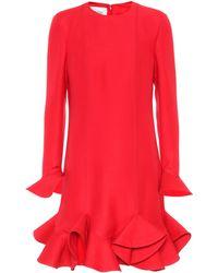 Valentino - Virgin Wool And Silk Flounce Dress - Lyst