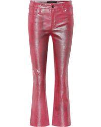 J Brand - Selena Mid-rise Crop Leather Pants - Lyst