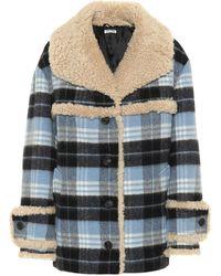 75b257ee17aa Miu Miu - Fur-trimmed Wool-blend Coat - Lyst