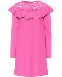 Valentino - Lace-trimmed Knit Minidress - Lyst
