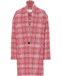 Étoile Isabel Marant Ebrie Checked Wool-blend Coat - Red