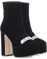 N°21 - Embellished Velvet Ankle Boots - Lyst