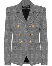 Balmain - Checked Stretch-cotton Blazer - Lyst