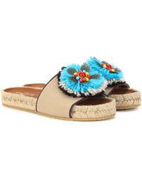 Etro - Embellished Canvas Slides - Lyst