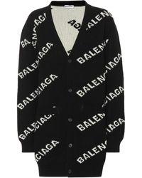 Balenciaga - Jacquard Oversized Logo Cardigan - Lyst