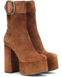 Saint Laurent - Billy Suede Plateau Ankle Boots - Lyst