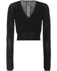 Rick Owens - Cropped Wool Sweater - Lyst