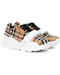 Burberry - Checked Cotton Sneakers - Lyst