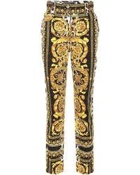 Versace - Scarf-printed Straight-leg Jeans - Lyst