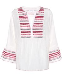 Velvet Embroidered Cotton Blouse - White