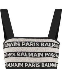 Balmain - Linen-blend Knit Intarsia Bralette - Lyst