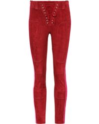 Unravel - Lace Up Suede Trousers - Lyst