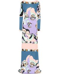 Emilio Pucci - Belted Printed Maxi Dress - Lyst
