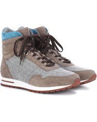 Loro Piana | Cashmere And Suede Sneakers | Lyst