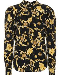 Veronica Beard - Mena Printed Stretch-silk Blouse - Lyst