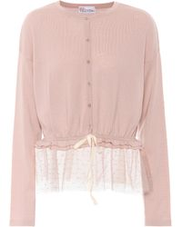 RED Valentino - Tulle-trimmed Wool Cardigan - Lyst